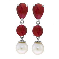 Genuine 10.10 ctw Ruby & Pearl Earrings Jewelry 14KT White Gold - REF-55Y3F