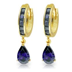 Genuine 4.55 ctw Sapphire Earrings Jewelry 14KT Yellow Gold - REF-70H3X