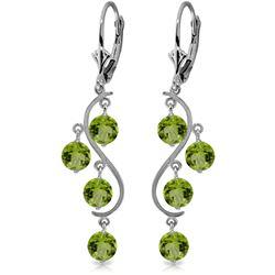 Genuine 4.95 ctw Peridot Earrings Jewelry 14KT White Gold - REF-53K8V