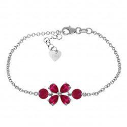 Genuine 3.15 ctw Ruby Bracelet Jewelry 14KT White Gold - REF-71W9Y