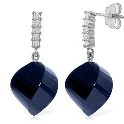 Genuine 30.65 ctw Sapphire & Diamond Earrings Jewelry 14KT White Gold - REF-59H9X