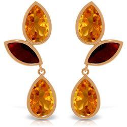Genuine 13 ctw Citrine & Garnet Earrings Jewelry 14KT Rose Gold - REF-58H7X
