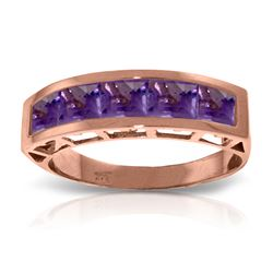 Genuine 2.25 ctw Amethyst Ring Jewelry 14KT Rose Gold - REF-54Z2N