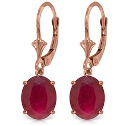 Genuine 7 ctw Ruby Earrings Jewelry 14KT Rose Gold - REF-64F6Z