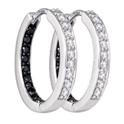 0.49 CTW Black Color Diamond In/Out Hoop Earrings 10KT White Gold - REF-36X2Y
