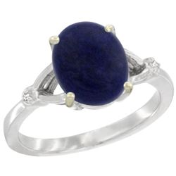 Natural 2.51 ctw Lapis & Diamond Engagement Ring 14K White Gold - REF-31F7N
