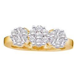 1.5 CTW Diamond Triple Flower Cluster Ring 14KT Yellow Gold - REF-172W4K