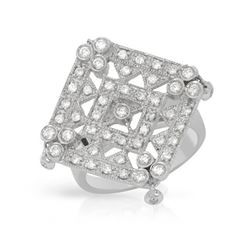 0.74 CTW Diamond Ring 18K White Gold - REF-141R4K