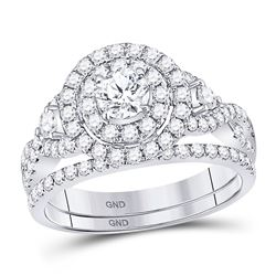1.49 CTW Diamond Halo Bridal Engagement Ring 14KT White Gold - REF-194X9Y
