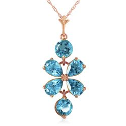 Genuine 3.15 ctw Blue Topaz Necklace Jewelry 14KT Rose Gold - REF-30K3V