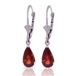 Genuine 2.45 ctw Garnet Earrings Jewelry 14KT White Gold - REF-28N5R