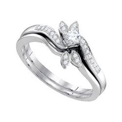 0.25 CTW Diamond Leaf Floral Bridal Engagement Ring 10KT White Gold - REF-34K4W