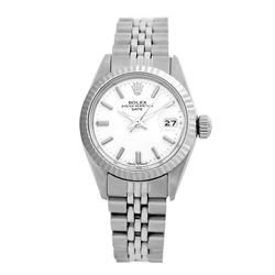 Rolex Pre-owned 26mm Womens Original Rolex White Dial Stainless Steel - REF-360N4H