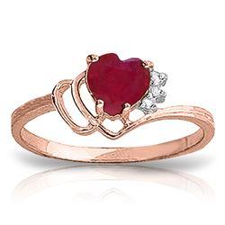 Genuine 1.02 ctw Ruby & Diamond Ring Jewelry 14KT Rose Gold - REF-35W5Y