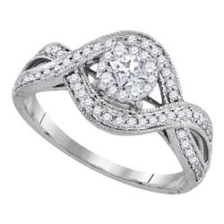 0.50 CTW Princess Diamond Solitaire Bridal Engagement Ring 14KT White Gold - REF-71F9N