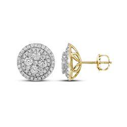 1.68 CTW Diamond Flower Cluster Earrings 14KT Yellow Gold - REF-179K9W