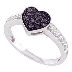 0.33 CTW Black Color Diamond Heart Cluster Ring 10KT White Gold - REF-25K4W