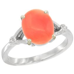 Natural 2.01 ctw Coral & Diamond Engagement Ring 10K White Gold - REF-22A8V