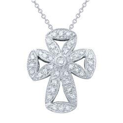 0.57 CTW Diamond Necklace 18K White Gold - REF-65F7N