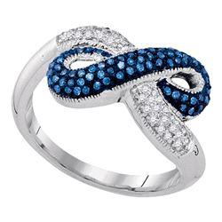 0.36 CTW Blue Color Diamond Infinity Ring 10KT White Gold - REF-32K9W