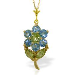 Genuine 1.06 ctw Blue Topaz & Peridot Necklace Jewelry 14KT Yellow Gold - REF-25M3T