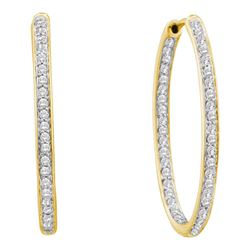 1.01 CTW Diamond In/Out Hoop Earrings 14KT Yellow Gold - REF-112X5Y