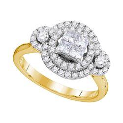 0.82 CTW Princess Diamond Circle Cluster Bridal Engagement Ring 14KT Yellow Gold - REF-108M2H