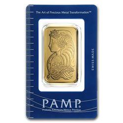 Genuine 1 oz 0.9999 Fine Gold Bar - PAMP Suisse Lady Fortuna