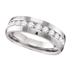 1 CTW Mens Diamond Wedding Anniversary Ring 10KT White Gold - REF-132K2W