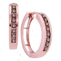 0.50 CTW Cognac-brown Color Diamond Hoop Earrings 10KT Rose Gold - REF-30K2W