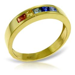 Genuine 0.60 ctw Multi-Color Sapphire Ring Jewelry 14KT Yellow Gold - REF-49Y2F