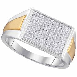 0.30 CTW Diamond Rectangle Cluster Ring 10KT Two-tone Gold - REF-52Y4X