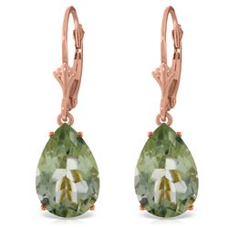 Genuine 10 ctw Green Amethyst Earrings Jewelry 14KT Rose Gold - REF-45M3T