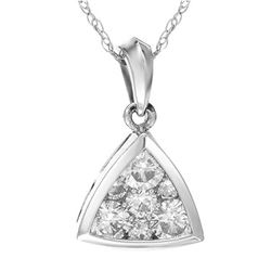 1 CTW Diamond Necklace 14K White Gold - REF-130X3R