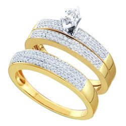 0.50 CTW His & Hers Marquise Diamond Solitaire Matching Bridal Ring 14KT Yellow Gold - REF-97W4K