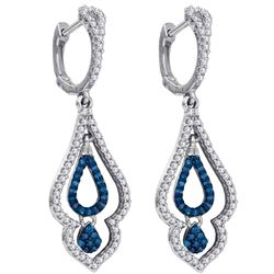 0.50 CTW Blue Color Diamond Spade Dangle Earrings 10KT White Gold - REF-41X9Y