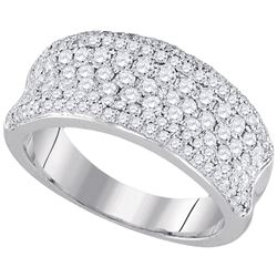 1.33 CTW Diamond Pave Wedding Anniversary Ring 14k White Gold - REF-134W9K