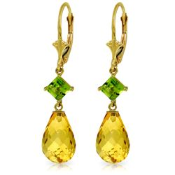 Genuine 11 ctw Citrine & Peridot Earrings Jewelry 14KT Yellow Gold - REF-39K3V