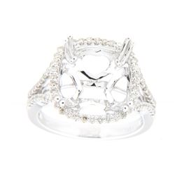 0.47 CTW Diamond Semi Mount Ring 14K White Gold - REF-59N9Y
