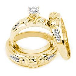 0.14 CTW His & Hers Diamond Claddagh Matching Bridal Ring 14KT Yellow Gold - REF-57F2N