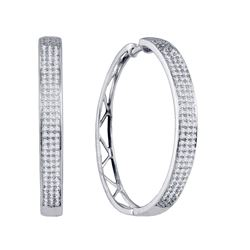 0.80 CTW Diamond Large Hoop Earrings 10KT White Gold - REF-79W4K