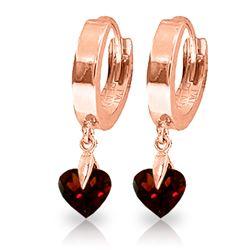 Genuine 1.50 ctw Garnet Earrings Jewelry 14KT Rose Gold - REF-25R8P
