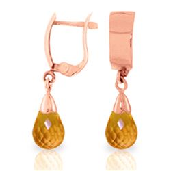 Genuine 2.5 ctw Citrine Earrings Jewelry 14KT Rose Gold - REF-22W3Y