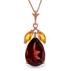 Genuine 6.5 ctw Garnet & Citrine Necklace Jewelry 14KT Rose Gold - REF-42R2P