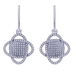 0.32 CTW Diamond Earrings 14K White Gold - REF-27N9Y