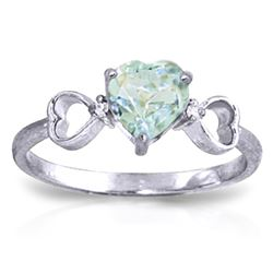 Genuine 0.96 ctw Aquamarine & Diamond Ring Jewelry 14KT White Gold - REF-44X3M