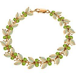 Genuine 12 ctw Opal & Peridot Bracelet Jewelry 14KT Rose Gold - REF-189F3Z
