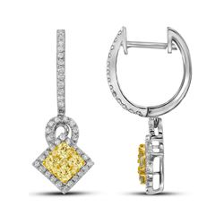 1 CTW Yellow Diamond Diagonal Cluster Earrings 14KT White Gold - REF-134Y9X