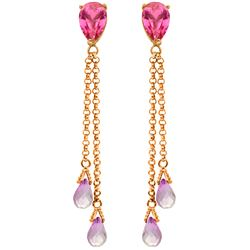 Genuine 7.5 ctw Pink Topaz Earrings Jewelry 14KT Rose Gold - REF-39N3R