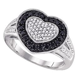 0.51 CTW Black Color Diamond Heart Ring 10KT White Gold - REF-41K9W